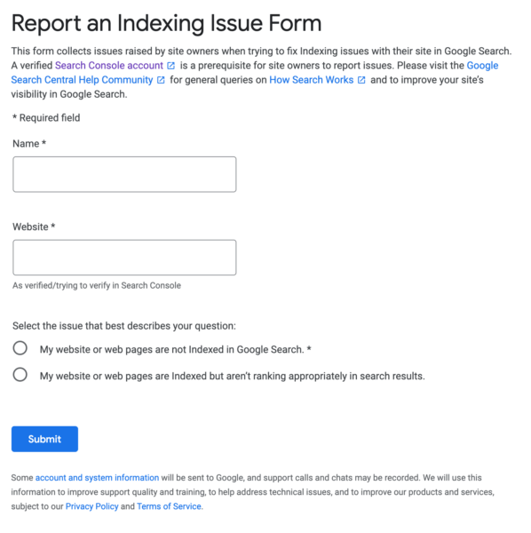 Google lets you report an indexing issue