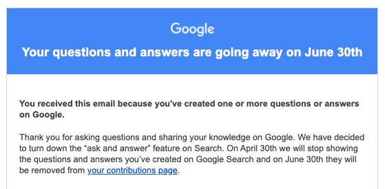 Google Question Hub