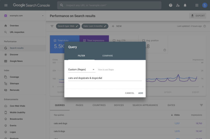 Google Search Console adds regular expression support and more data filtering to Performance reports
