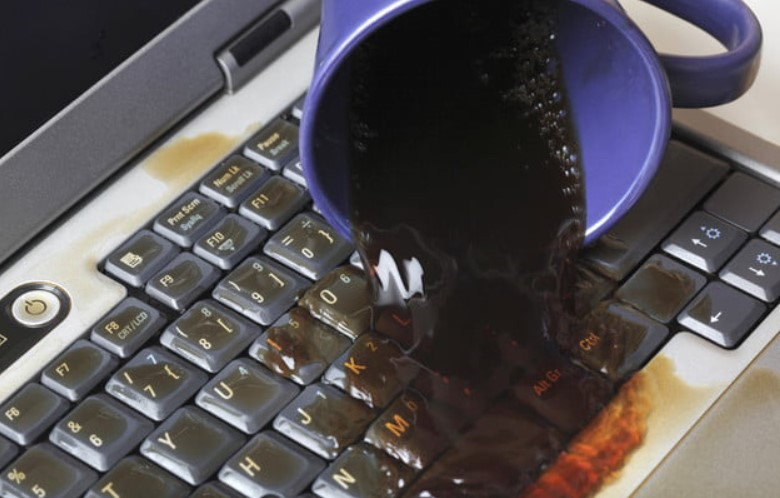spilled water on laptop